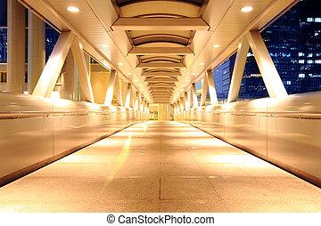corridor of the city hall at night in hong kong