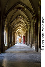 Corridor of the Pandhof Domkerk in Utrecht, Netherlands