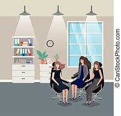 corridor office with businesswomen sitting