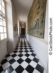 Corridor palace - a view of a corridor in a French palace