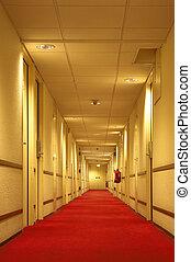 Corridor - Red carpet of the hotel corridor