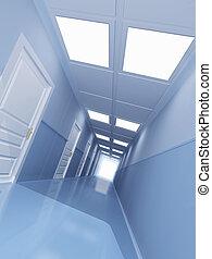 Corridor - Long corridor with many doors
