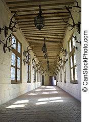 Corridor displaying hunting trophys, Chateau de chambord,...