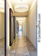 Corridor - New modern corridor with mirrors, vertical view