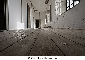 corridor terror - a long hallway of an old abandoned house