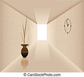 Corridor - Illustration of the vase against the background...