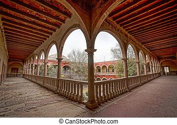 corridor with arches at jaral de berrio hacienda mexico -...