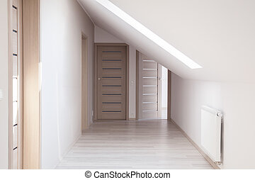 Corridor with beige doors - Empty corridor interior with ...