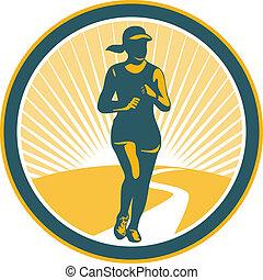 corridore, cerchio, femmina, maratona, retro