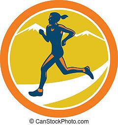 corridore, correndo, femmina, triathlete, retro