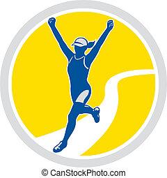 corridore, femmina, triathlete, maratona, retro