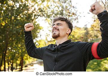 corridore, fuori, parco, giovane, sport, idoneità, uomo, bello