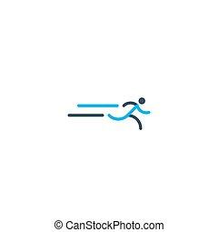 corridore, logotipo, sport, icona