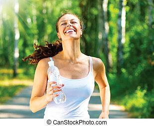 corridore, parco, jogging, correndo, femmina, woman.