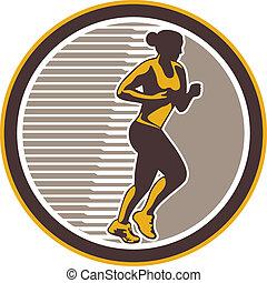 corridore, retro, femmina, lato, maratona, vista