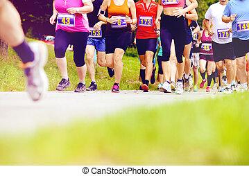 corridori, non identificato, correndo, maratona