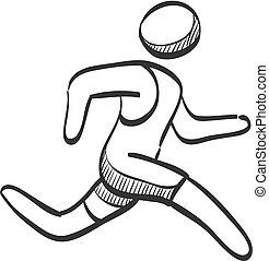 corriente, atleta, -, bosquejo, icono