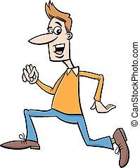 corriente, caricatura, ilustración, hombre