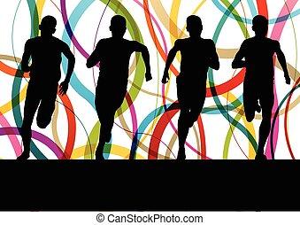 corriente, condición física, sprinting, hombre