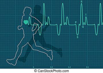 corriente, electrocardiograma, hombre, vector, latido del corazón