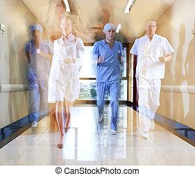 corriente, equipo, enfermera, doctor