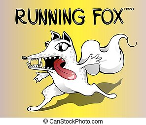 corriente, espantado, fox., caricatura, zorro blanco, vector, ilustración, en, amarillo, fondo.
