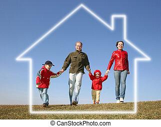 corriente, familia cuatro, en, casa ideal