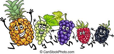 corriente, fruits, caricatura, ilustración