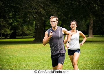 corriente, juntos, -, pareja joven, jogging