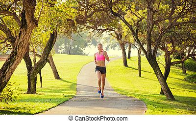 corriente, mujer, aire libre, jogging, joven