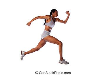 corriente, mujer, atleta, rápido