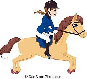 corriente, mujer, caballo, ecuestre