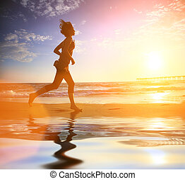 corriente, mujer, océano de puesta de sol