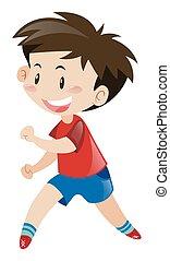 corriente, niño, poco, camisa, rojo