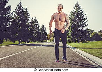 corriente, parque, hombre