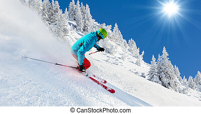 corriente, piste, esquiador de descenso contra reloj
