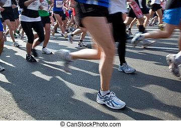 corriente, rápido, maratón