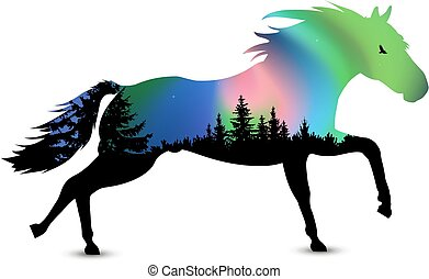 corriente, silueta, caballo