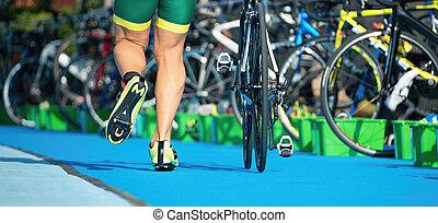 corriente, transición, zona, triathlete