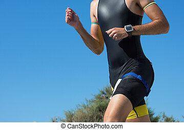corriente, triatlón, carrera, atleta, hombre