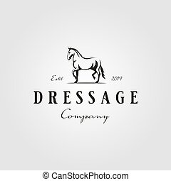 corriente, vector, semental, caballo, dressage, logotipo, hipster, vendimia