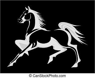 corriente, vector, silueta, horse., ilustración
