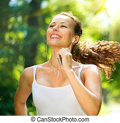 corriente, woman., al aire libre, entrenamiento, en, un, parque