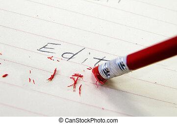corriger, crayon, closeup, gomme, erreur