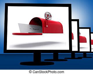 corrispondenza, digitale, mostra, monitor, cassetta postale