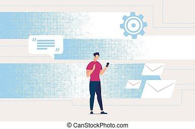 corrispondenza, online., aviatore, ricevimento, pubblicità