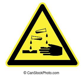 corrosif, avertissement, triangle jaune