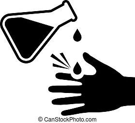 corrosif, signe, peau, éviter, contact, chimique