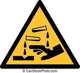 corrosif, substance, signe