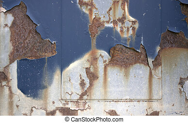 corroded surface with rust and peeling paint